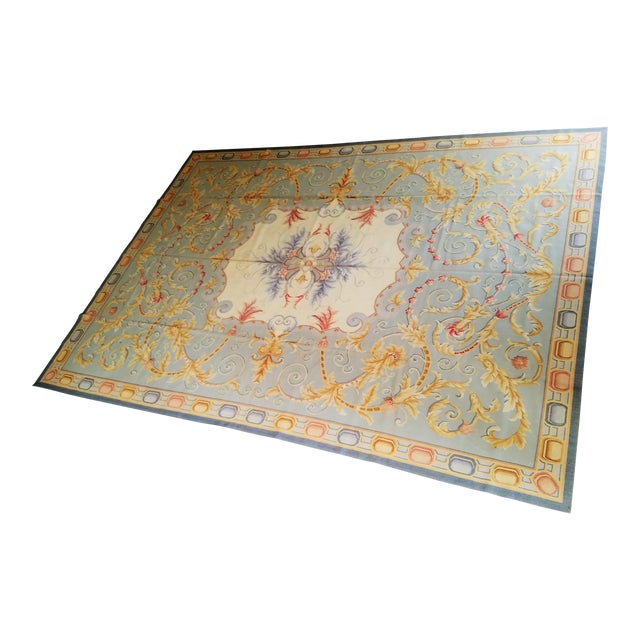 Handmade Blue Gray, Ivory, Gold and Teracotta Aubusson Style Area Rug - 8′10″ × 12′2″ For Sale