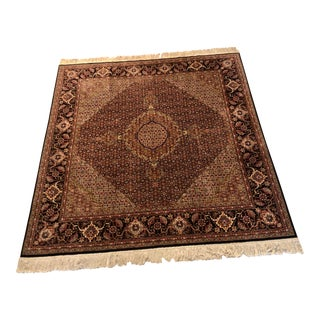 Late 20th Century Vintage Wool and Silk Kashan Persian Rug-6′6″ × 6′7″ For Sale