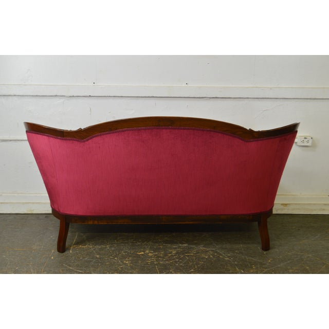 Late 19th Century Victorian Walnut Antique Red Tufted Sofa For Sale - Image 5 of 13