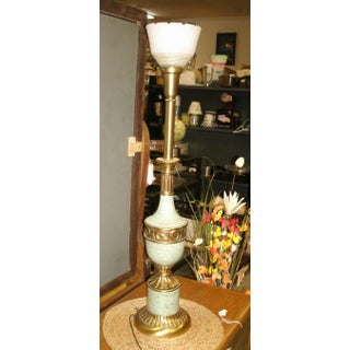 Mid 20th Century Vintage Hollywood Regency Torchiere Table Lamp With Shade Preview