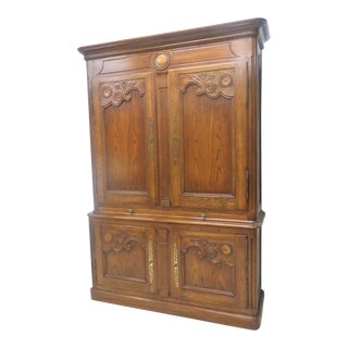 Oak Country French Carved Bar Cabinet