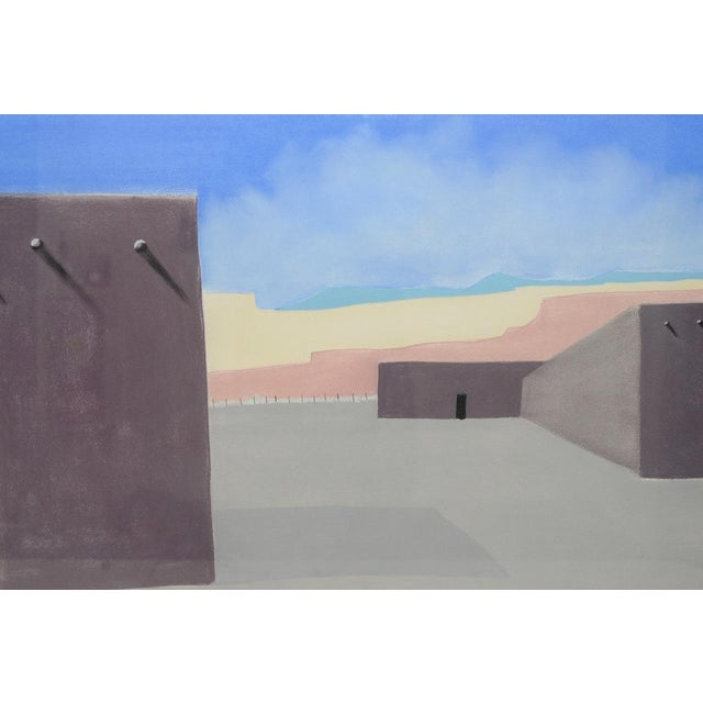 Vintage Southwest Pueblo Landscape Original Pastel Painting C.1985 For Sale - Image 4 of 7