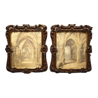 19th Century Rosslyn Chapel Watercolors in Carved Fruitwood Frames - A Pair For Sale