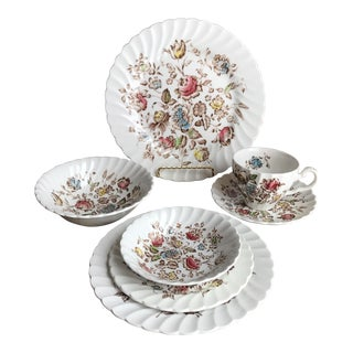Staffordshire Bouquet Ironstone Dinner Setting - 7 Pc Set (10 Sets Available)