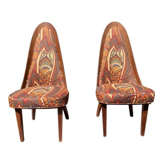 1960s Vintage Chet Beardsley Mod Designer Arch Back Side Chairs- A Pair For Sale
