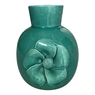 Vintage Turquoise Ceramic Flower Motif Vase For Sale
