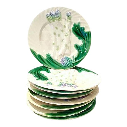 Antique Majolica Asparagus Plates, S/8 - Image 1 of 6