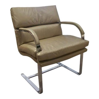 1970s Brueton Heavy Steel Chair in Metallic Leather For Sale
