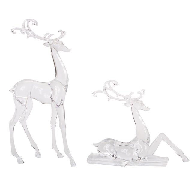 Kenneth Ludwig Chicago Kenneth Ludwig Acrylic Deer Figurines - Set of 2 For Sale - Image 4 of 4