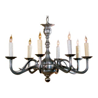 Art Nouveau-Style French Pewter Chandelier with Eight Arms, circa 1940 For Sale
