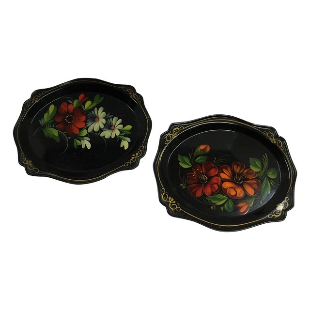 Russian Black Painted Floral Trays - A Pair For Sale