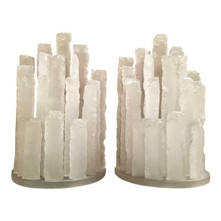 Mid 20th Century Skyscraper Frosted Lucite Lamps - a Pair For Sale