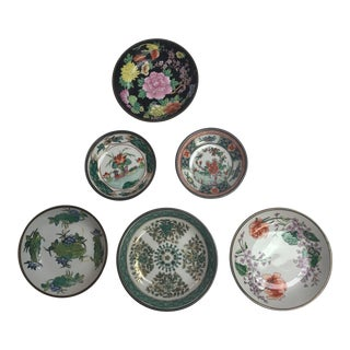 Set of (6) Asian Export Round Floral Plates on Metal Casings For Sale