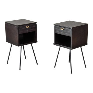 Mahogany and Iron Nightstands - a Pair