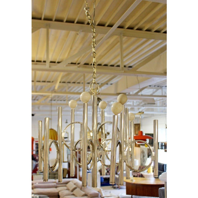 Mid-Century Modern 1970s Mid Century Modern Gaetano Sciolari 12 Arm Chrome Chandelier For Sale - Image 3 of 6