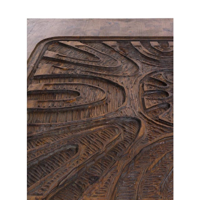 Monumental Carved Abstract Relief Coffee Table, c. 1960 For Sale In Los Angeles - Image 6 of 7