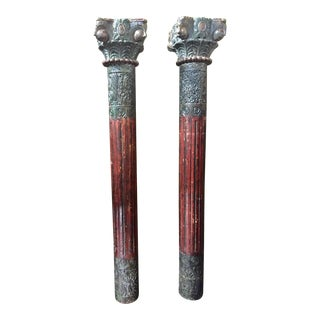 1930s Vintage Painted and Heavily Carved Teak Wood Columns With Lions - a Pair For Sale