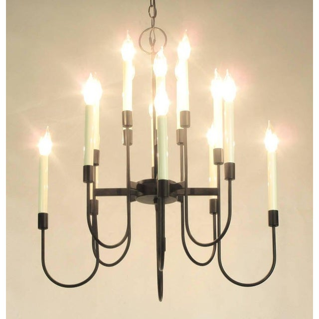 Lightolier Lightolier Sixteen-Arm, Black Lacquer Chandelier For Sale - Image 4 of 11