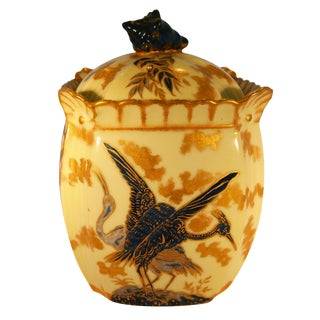 Late 19th Century Aesthetic Movement Hobbyist Painted Limoges Porcelain Biscuit Jar For Sale