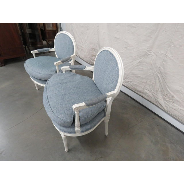 Louis XVI Style Armchairs - a Pair For Sale In Philadelphia - Image 6 of 9
