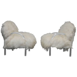 Pace Collection Lounge Chairs, Lucite and Mongolian Lamb For Sale