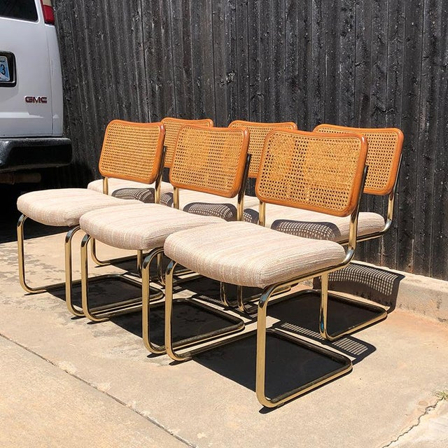 Bauhaus 1980s Vintage Cantilever Cane Marcel Breuer Style Tubular Dining Chairs Upholstered Seats Set of 6 For Sale - Image 3 of 13