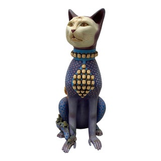 Sergio Bustamante (Mexico, B.1942) Large Scale Surreal Cat Ceramic Sculpture C.1970s For Sale