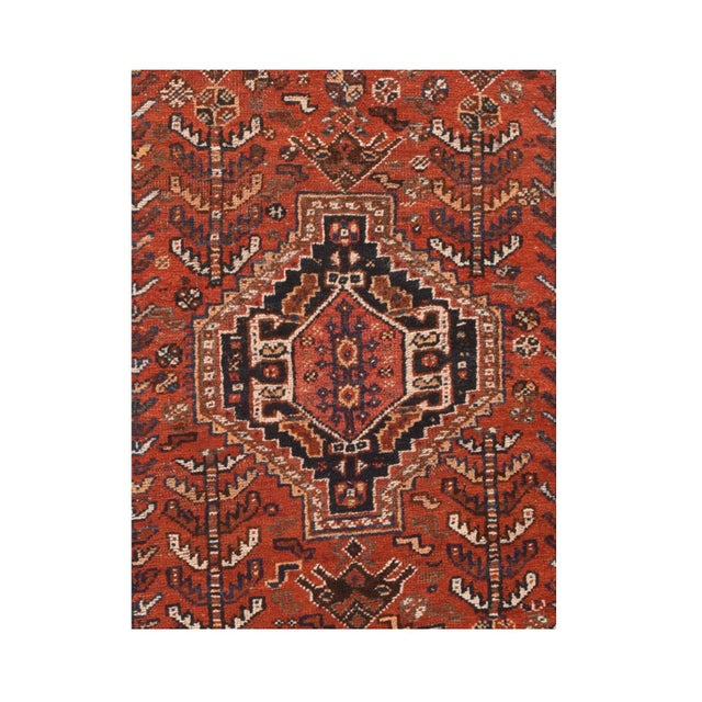 Tribal Antique Persian Shiraz Tribal Rug For Sale - Image 3 of 4