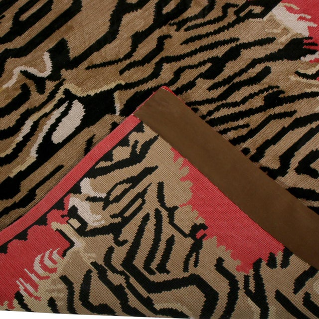 Tiger Pictorial Red Orange and Black Wool and Silk Rug For Sale In New York - Image 6 of 7