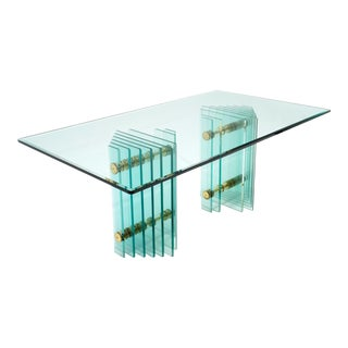 Hollywood Regency Brass and Glass Pace Collection Dining Table For Sale