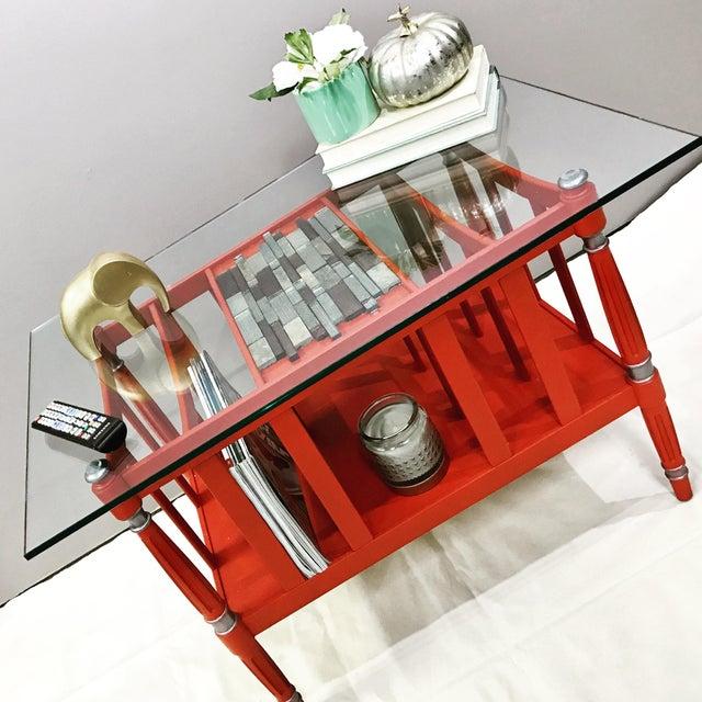 Magazine Rack Glass Top Coffee Table - Image 9 of 9