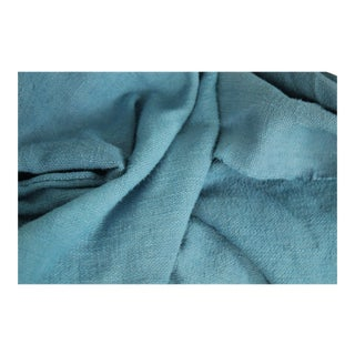 "Antique French Dyed Blue Heavy Linen Sheet Throw Blanket Textile - 90"" X 75"" For Sale"