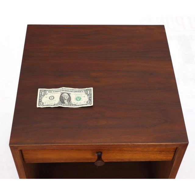 Wood Pair of Cube Shape Oiled Walnut One Drawer Mid-Century Modern End Tables Stands For Sale - Image 7 of 13