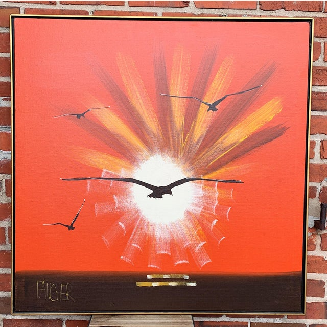 "1970s Vintage Faucher ""On the Wing"" Painting For Sale - Image 10 of 10"