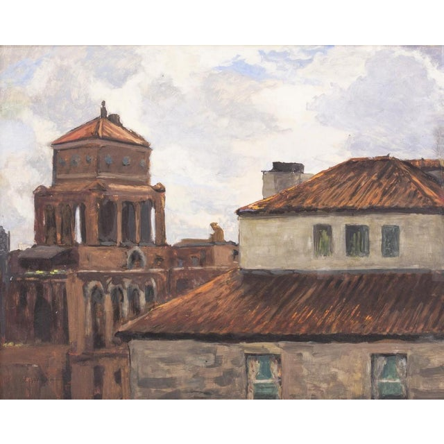 Rooftops of Naples, framed watercolor and gouache painting on paper. Artwork depicts the rich brick red tile roofs of...