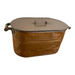 Vintage Lidded Copper Bin For Sale