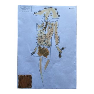 Givenchy Printed Suit Couture Fashion Sketch For Sale