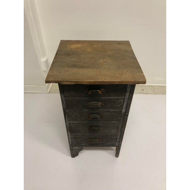Industrial Vintage Industrial Wood 5 Drawer Vertical File Cabinet For Sale - Image 3 of 13