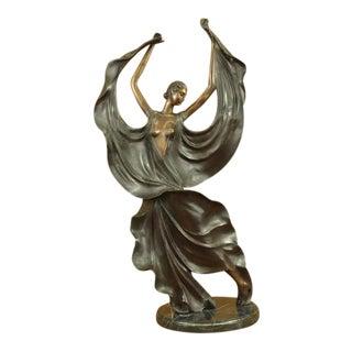 After Icart Bronze Dancer Sculpture For Sale