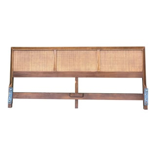 Mid Century Caned King Size Headboard by American of Martinsville For Sale