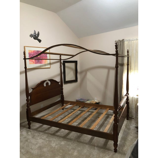 1960s Traditional Thomasville Full Size Four 4 Poster Canopy Bed For Sale - Image 12 of 13