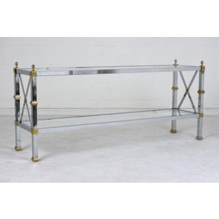 Hollywood Regency-Style Chrome Brass and Glass Sofa Table Preview