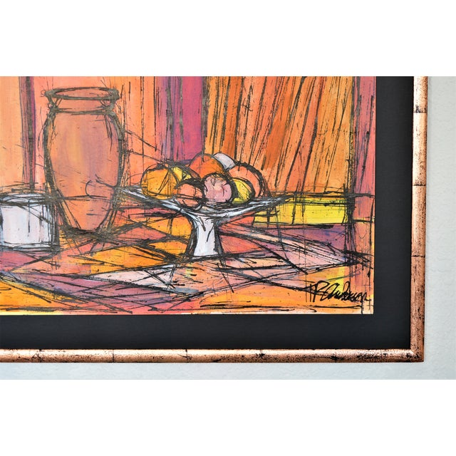 Large Framed Mid Century Modern Abstract Expressionist Watercolor Painting- Boho Chic French Art Deco Hollywood Regency Bernard Buffet Expressionism For Sale - Image 4 of 13