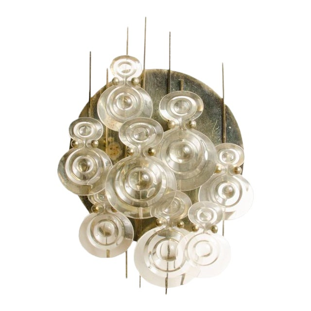 1965 Mid-Century Italian Glass And Brass Wall Sconce For Sale