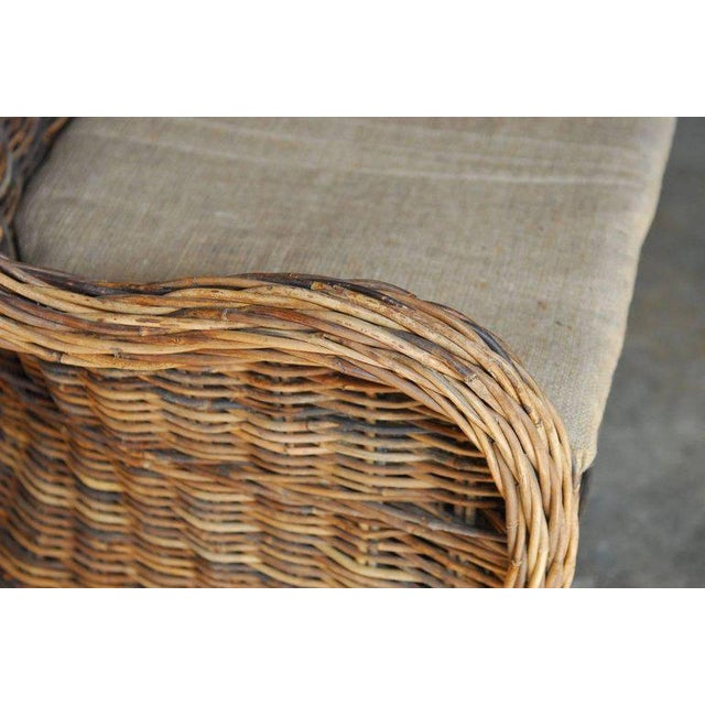 Organic Modern Woven Rattan and Wicker Settee - Image 5 of 9
