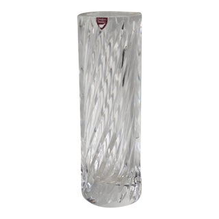 Vintage Jan Johansson Orrefors Sweden Crystal Cylinder Ribbed Spiral Swirl Vase For Sale