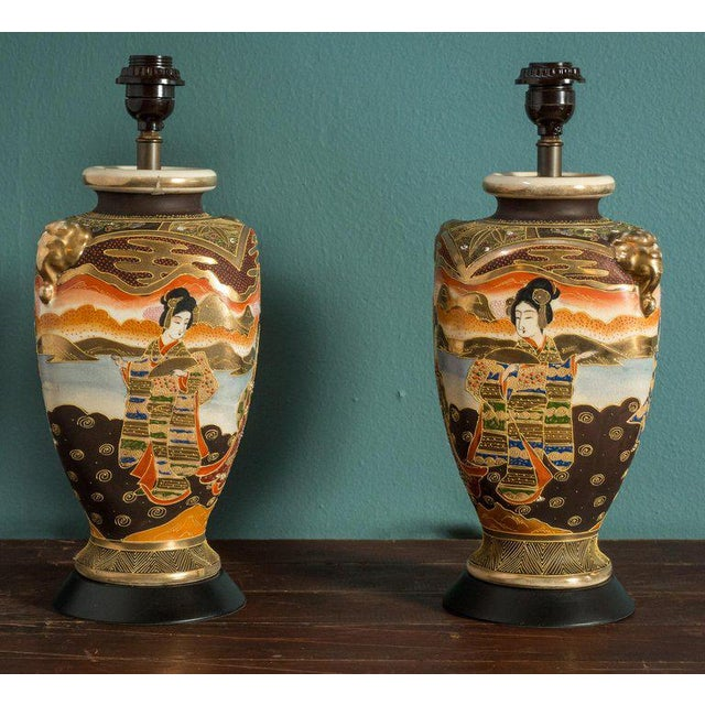 Asian Pair of Japanese Satsuma Table Lamps For Sale - Image 3 of 5