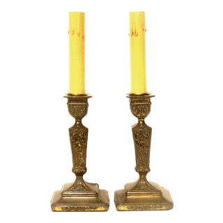 Vintage Bronze Candlestick Lamps, Pair For Sale
