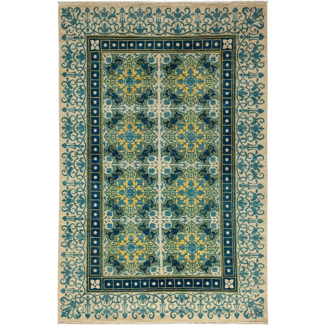 """Suzani Hand Knotted Area Rug - 6'1"""" X 9'3"""" For Sale"""