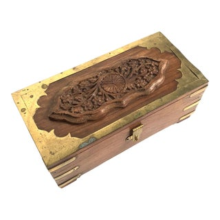 Vintage Wood and Brass Money Box - India